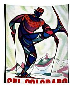 Ski Colorado, United States - Colorado Winter Sports - Retro Travel Poster - Vintage Poster Tapestry