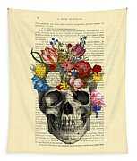 Skull With Flowers Vintage Illustration Tapestry