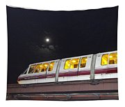 Sky Train On A Lunar Night Tapestry