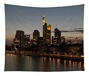 Skyline Of Frankfurt City In Twilight Tapestry