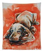 Sleeping Spaniel On The Red Carpet Tapestry