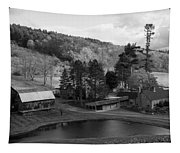 Sleepy Hollows Farm Woodstock Vermont Vt Pond Black And White Tapestry