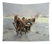 Sleighs In A Winter Landscape Tapestry
