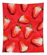 Sliced Red Strawberry Background Tapestry