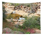 Slide Rock With Pink Wildflowers Tapestry