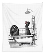 Sloth In Bathtub Taking A Shower Tapestry