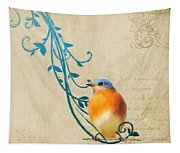 Small Vintage Bluebird With Leaves Tapestry