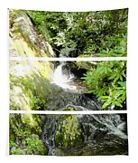 Small Waterfall Smoky Mountains Triptych Tapestry