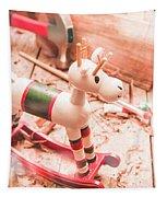Small Xmas Reindeer On Wood Shavings In Workshop Tapestry