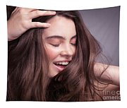 Smiling Young Woman With Long Brown Hair Tapestry