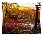 Smoky Mountain Suspension Bridge Oil Painting Tapestry
