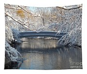 Snow Covered Bridge Tapestry
