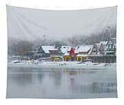 Snow Falling On Boathouse Row Tapestry