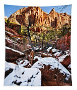 Snow In The Canyons Tapestry