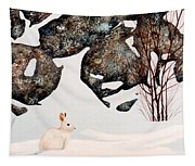 Snow Ledges Rabbit Tapestry