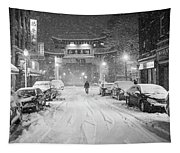 Snow Storm In Chinatown Boston Chinatown Gate Black And White Tapestry