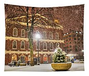 Snow Storm In Faneuil Hall Quincy Market Boston Ma Tapestry