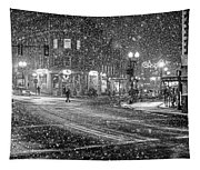 Snowfall In Harvard Square Cambridge Ma 2 Black And White Tapestry