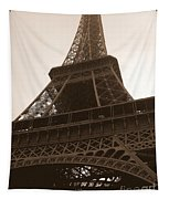 Snowing On The Eiffel Tower Tapestry