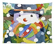 Snowman In Snow Tapestry