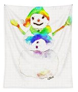 Snowman With Rainbow 1 Tapestry