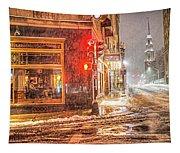 Snowstorm On Tremont Street Boston Ma Park Street Church Tapestry