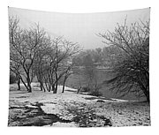 Snowy Day On Redd's Pond And Old Burial Hill Tapestry