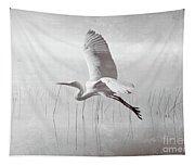 Snowy Egret Morning Bw Tapestry