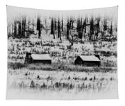 Snowy Log Cabins At Valley Forge Tapestry