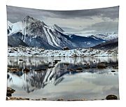 Snowy Reflections In Medicine Lake Tapestry