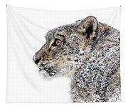 Snowy Snow Leopard Tapestry