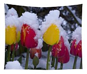Snowy Tulips Tapestry