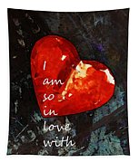 So In Love With You - Romantic Red Heart Painting Tapestry
