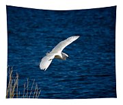 Soaring Snowy Egret  Tapestry