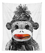Sock Monkey Art In Black White And Red - By Sharon Cummings Tapestry