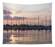 Softly - God Rays And Yachts In Rose Gold And Amethyst  Tapestry