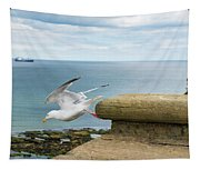 Solitary Seagull Take-off Tapestry