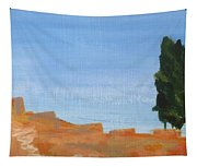 Solitary Tree On Rocks Tapestry