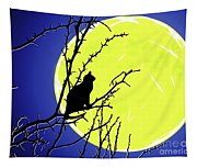 Solitary With Golden Moon Tapestry