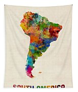 South America Watercolor Map Tapestry