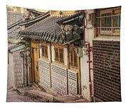 South Korean Hanok Street Tapestry
