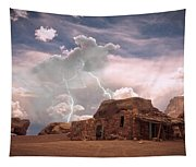 Southwest Navajo Rock House And Lightning Strikes Tapestry