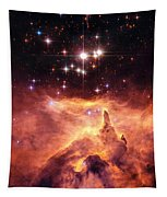 Space Image Orange And Red Star Cluster With Blue Stars Tapestry