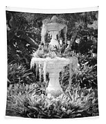 Spanish Moss Fountain With Bromeliads - Black And White Tapestry