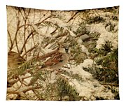 Sparrow In Winter Iv - Textured Tapestry