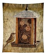 Sparrow On The Feeder Tapestry