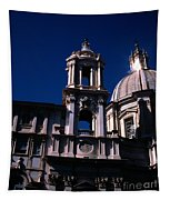 Spire And Cupola St Agnese In Agone Piazza Navona Rome Italy Tapestry