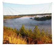 Spokane River Under A Misty Morning Blanket Tapestry