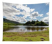 Spot The Swimming Dog In Derwnt Water Lake Tapestry