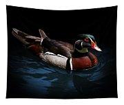 Spotlight On A Wood Duck Tapestry